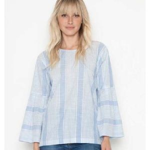 NWT Parker Smith Frock Striped Bell Sleeve Top M